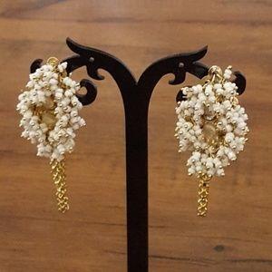 Vintage Bead Rhinestone Droplet Earrings